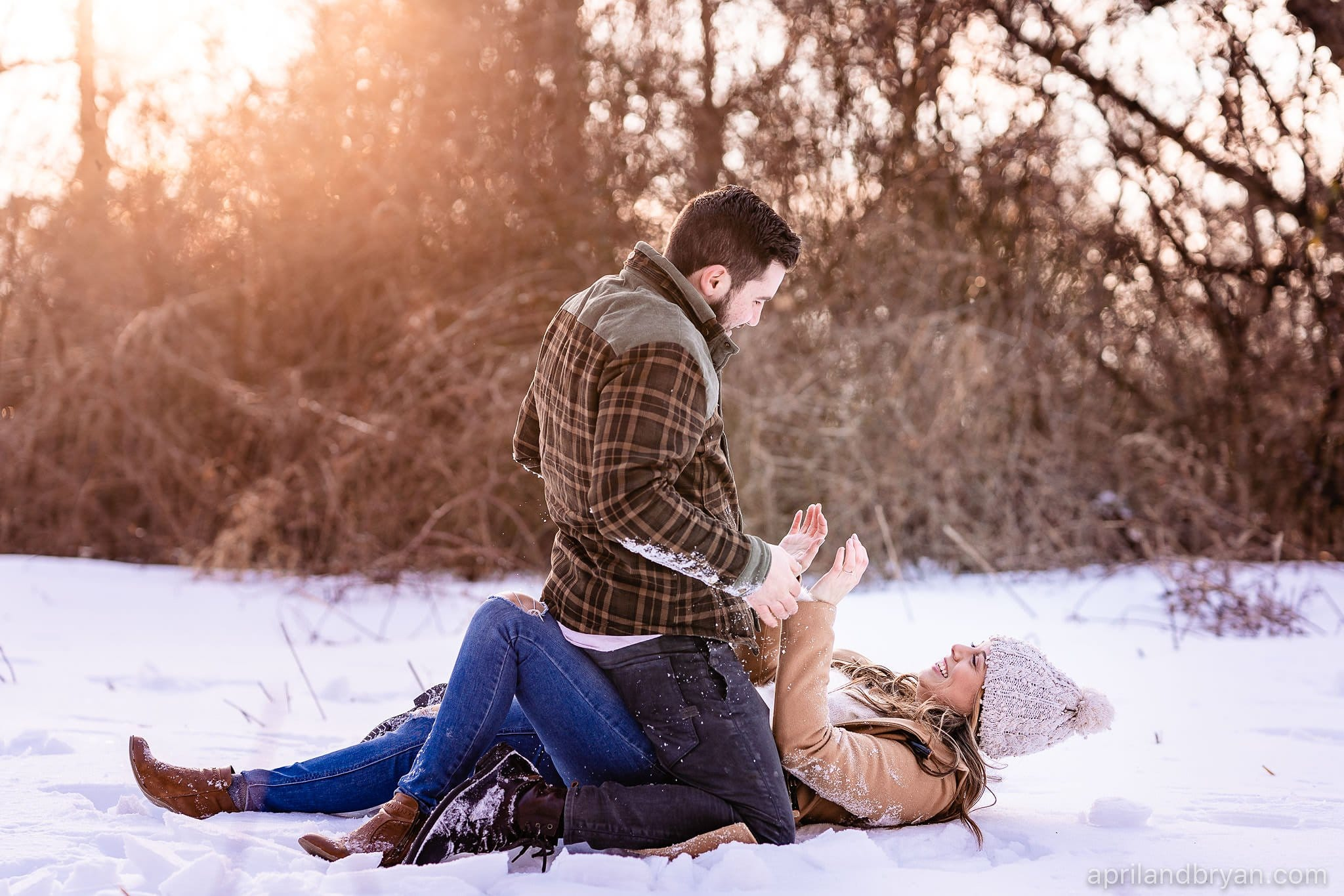 Fun Snowy Engagement Session